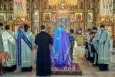 Архипастырь совершил утреню с акафистом Божией Матери пред Ее иконою «Табынская» в Успенском кафедральном соборе